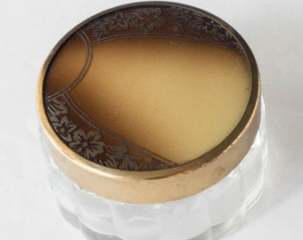 Small Art Deco Vanity Jar Dresser Brown Celluloid Flower Lid 1930s Trinket Box Cosmetic Lotion