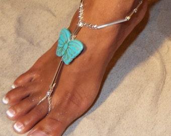 Happi Feet, Butterfly barefoot sandals, destination wedding shoes, beach wedding shoes, The Blue Butterflies HF115