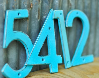 Mediterranean Blue Distressed Aluminum House Numbers