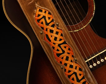 Guitar strap, Leather Guitar Strap, Celtic Guitar Strap: Celtic Honeywine Guitar Strap