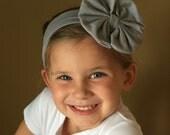 Grey Headband, Baby Headband, Messy Bow Headband, Birthday Headband, Baby Headwrap, Headwrap Bow Headband