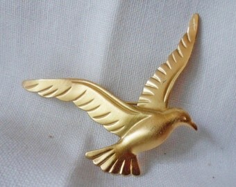 Vintage Gold finish BEAU Sterling Silver SEAGULL Brooch
