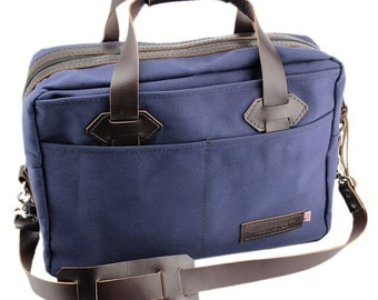 Classic Travel Briefcase - Water Resistant Roomy Cotton Duck - Navy - Made in America