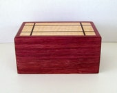 Wood jewelry box purple heart with a maple and wenge wood lid keepsake box hinged lid
