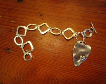 Marvelous Mix: STERLING Silver & Silver Plate Artisan Hammered Geometric Link Handmade Charm Bracelet w/Dangling Double HEART Charm - OOAK