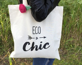 Organic Cotton Tote Bag ECO & CHIC Original Reusable Shopping Bag Market Bag Eco Farmers Market Tote Ecofriendly