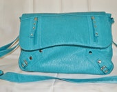 Handbag Purse Pocketbook Teal Distressed Paris Shabby Chic  Boho Hippie Festival Easter