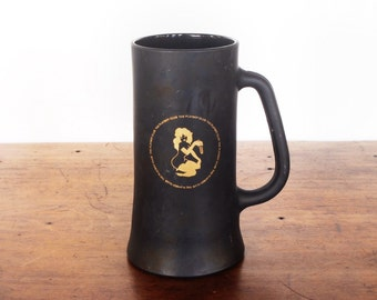 Vintage Playboy Club beer mug, beer stein, black frosted glass with gold Femlin nude girlie and key, 12 oz, 1960s barware, man cave, guys