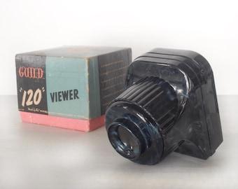 Vintage Guild 120 mm film viewer, medium format slide viewer, photography, mid century 1940s, 1950s, original box, plastic, Holga, art deco