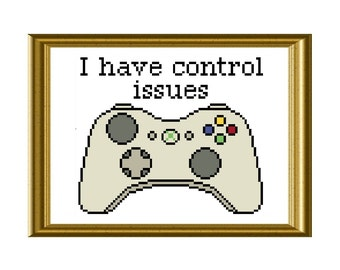 Xbox Controller Funny Cross Stitch Pattern Control Issues Quote
