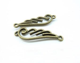 15pcs 10x32mm Antique Bronze Filigree Wing Connector Link Charm Pendant c6193