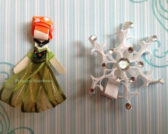 "Princess Anna / Snowflake""  Princess Hair Clips Set of 2 - Inspired by Disney- Birthdays, Party favor"