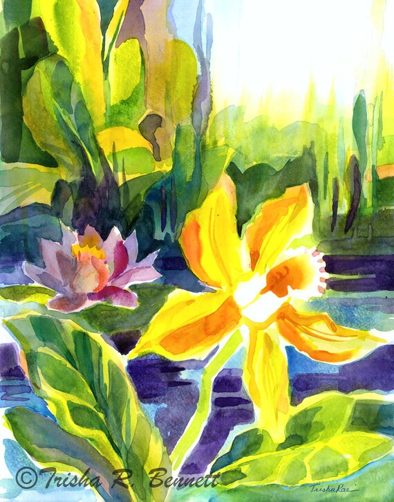 Items similar to yellow orchid watercolor print tropical for Bright flower painting