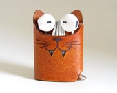 Brown Leather Cat Earphone Case - The Case with a Face - Leather Earphone Case / Earpod Case / Earphone Wrap / Earbud Organizer