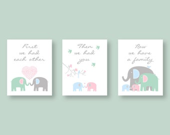 Twin CANVAS Wall Art   Elephant Family   boy and girl twins   Pink Blue nursery decor   Kids Wall Art First we had each other   YassisPlace