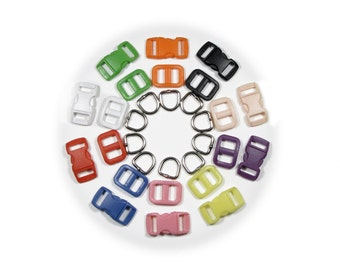 "25 Cat Collar Hardware Kits (SAFETY Buckles, D-Rings & Triglides) 3/8"" (10mm) - Ten Colors to Choose From"