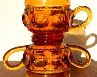 Indiana Glass Vintage Kings Crown Amber Sugar & Creamer