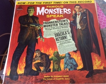 Vintage Record. LP. Famous Monsters Speak. Monster. Halloween. Halloween Party. Halloween Music