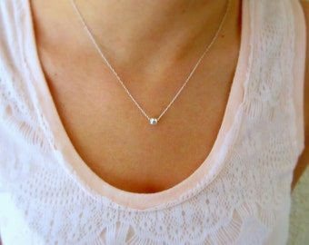 Silver necklace, Small necklace, One bead necklace, Minimalist necklace, Tiny silver necklace, Delicate necklace, Tiny bead necklace