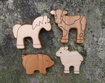 BARNYARD SET - 4 Wooden Toy Animals - Cow, Horse, Sheep, Pig - all natural teethers and Waldorf toddler toys