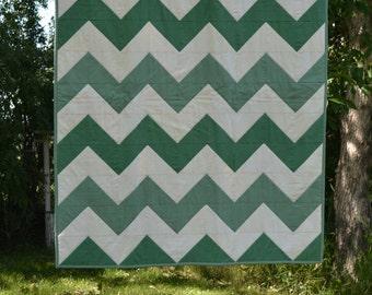Green Baby Quilt, Chevron Blanket, Modern Nursery Decor, Green Ivory Baby Blanket