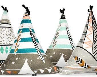 TEEPEE PILLOW - Decorative Nursery Pillow - Cute Bed Cushion - Tribal Nursery - Pajama Pillow