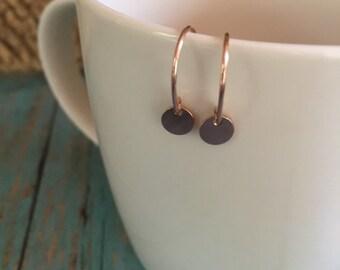 Rose Gold Drop Earring | Disk Earring | Rose Gold Disk Earring | Everyday Earring | Rose Gold | Rose Gold Jewelry | Dangle Earrings
