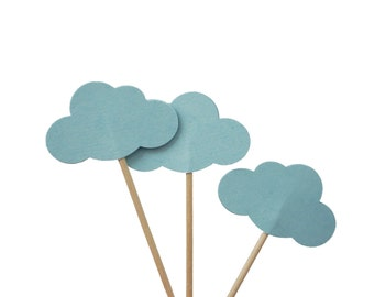 24 Light Blue Cloud Cupcake Toppers, Up up and Away Party Decorations - No1099