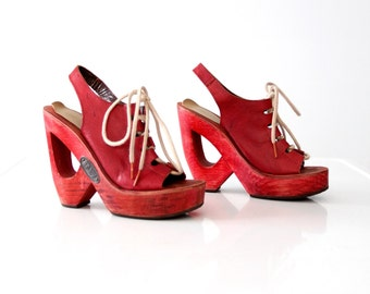 vintage 70s Shoes & Stuff by Frank Sbicca red leather platforms, size 6.5