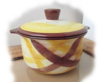 1950s Organdie Vernonware individual casserole/soufle or Ramekin bowl / sugar bowl / MINT