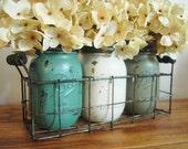 Mason jar wire caddy with 3 jars, table decor, table centerpiece, painted mason jars, home decor, seasonal centerpiece, fall jars,