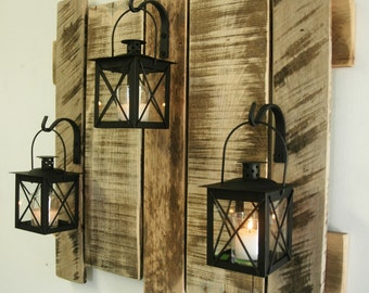pallet wall decor with lanterns rustic decor shabby chic decor home decor cabin decor large wood decor large wood wall decor