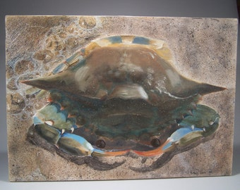Blue Crab Washed Ashore and Ready to Duke It Out- Original Acrylic Painting