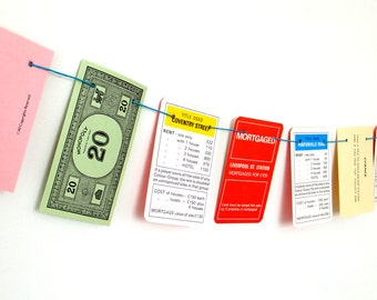 Monopoly Bunting, London Monopoly garland, Monopoly decor, mini garlands, small pennants
