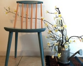 Vintage Wood Chair.  Vintage French Blue and Orange Chair. J77 Folke Palsson Chair. Ready to Ship