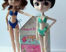Outfit handcrocheted for Pullip : Green crochet bikini