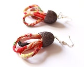 EARRINGS -japanese silk chirimen cords and  silk cocoon  earrings- textile jewelry,red and white