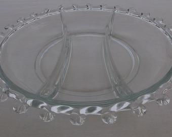 Vintage Pressed Glass Divided Serving Plate, Lariat Pattern