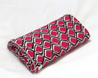 Large Cotton Jersey Knit Baby Swaddle/Receiving Blanket - Girl - Magenta Pink Mod Diamonds