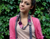 CROCHET PATTERN  Rose Lariat - crochet accessory, crochet skinny scarf, crochet flowers, rose lariat, statment scarf