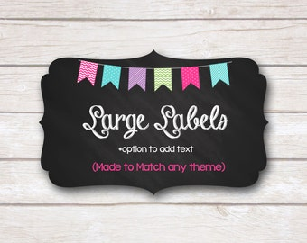 Large Labels. Buffet Labels. Food Labels. Food Cards. Made to Match. Printable Party.