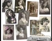girls, woman, printable, collage sheet, digital: Vintage Photos #1 - Digital Art Supplies By Angie Young