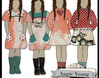 printable, art journaling, girl, doll: Altered Art Doll #2 - Carrie By Angie Young