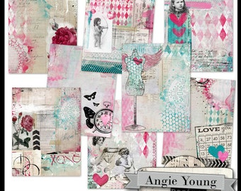 art journal papers digital collage backgrounds printable vintage images scrapbooking journaling paper 8.5x11