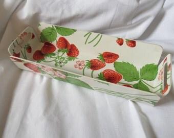 Vintage Strawberry Print Basket