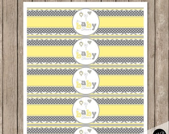 Yellow and Gray Baby Shower Water Bottle Wraps - Chevron Baby Shower Water Bottle Label - Bottle Wrap  Baby Shower  INSTANT DOWNLOAD HYG01