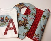 Personalized Baby Boy Gift Set, Cowboys, Bib, Burp Cloth, Blue, Red, Western,  Minky Dot, Appliqued Bodysuit