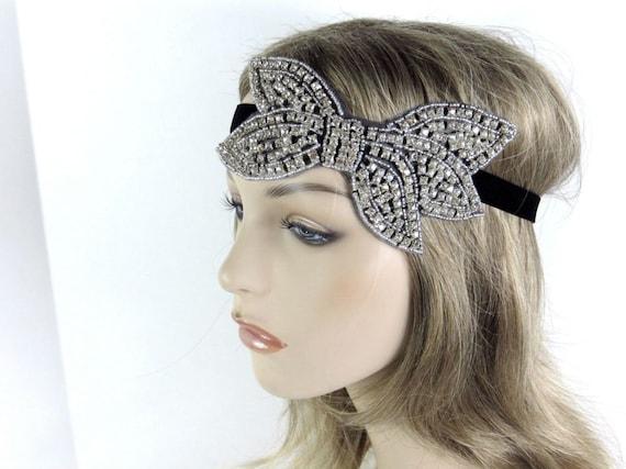 Silver Great Gatsby Dress Headband, Silver Bridal Fascinator, Great Gatsby Art Deco Headpiece, Flapper Style, 1920s Beaded Headpiece