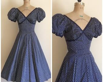 Vintage 1950's Navy Blue Polka Dot Cotton Dress 50's Wedding Party Dress