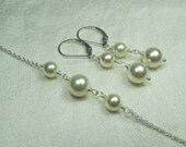 Pearl Bridesmaid Jewelry Pearl Bridal Necklace Earrings Bridesmaid Necklace Pearl Bridal Jewelry Set Wedding Jewelry Set